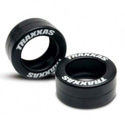 TIRES RUBBER (2) (FITS TRAXXAS WHEELIE BAR WHEELS)